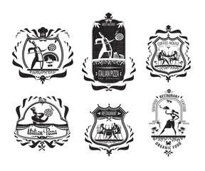 Pizzeria symbols. Vector format