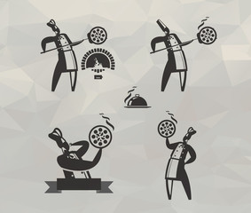Pizza icons. Vector format