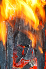 flame over burning firewood