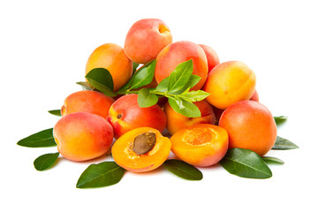 group of fresh apricot isolated on white