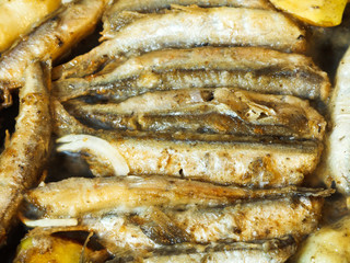 frying capelin fish in oil in frypan