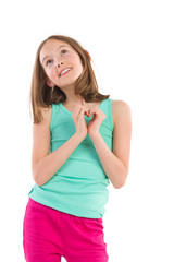 Little girl showing heart shaped hands