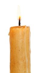 used burning candle close up isolated on white
