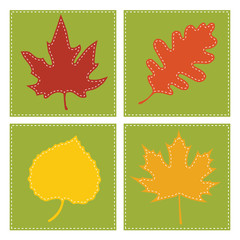 Autumn leaves with square backgrounds