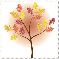 Autumn tree with oak leaves