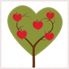 Apple tree in shape of a heart