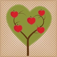 Apple tree in shape of heart