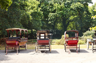 old carriages in village, France