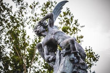 guardian, devil figure, bronze sculpture with demonic gargoyles