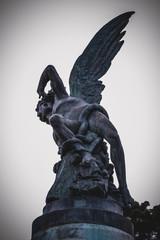scary, devil figure, bronze sculpture with demonic gargoyles and