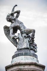 fallen angel, devil figure, bronze sculpture with demonic gargoy