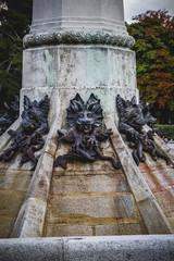 horror, devil figure, bronze sculpture with demonic gargoyles an