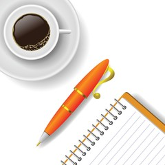 cup of coffee and pen