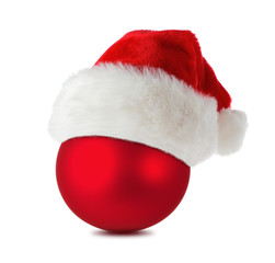 Red christmas ball with santa hat isolated on white background