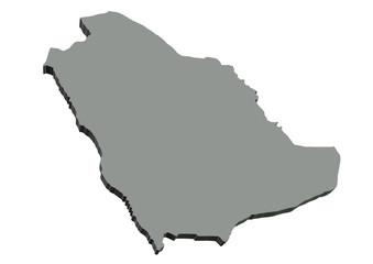 gri renkli suudi arabistan haritası
