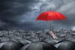 Leinwandbild Motiv red umbrella concept