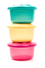 Glossy color food plastic containers isolated