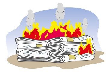 Lot of newspaper on fire