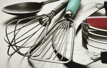Vintage metal kitchen utensils