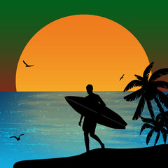 Surfer silhouette on sunset