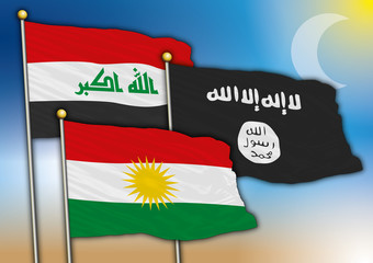 iraq, kurdistan, isis flags