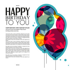 Vector birthday card with color balloons, flowers and text.