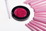 Set of  professional  pink make-up brushes poster