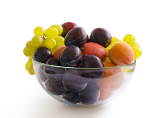 Ripe Plums, Grapes and Apricots