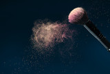 Professional black make-up brush with pink powder in motion isol poster