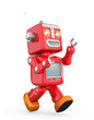 Cute red vintage robot isolated on white background - 69102550