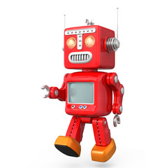Cute red vintage robot isolated on white background