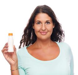 Woman Showing blank bottle