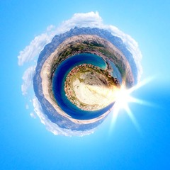 Abstract circular beach view at Pago - Croatia