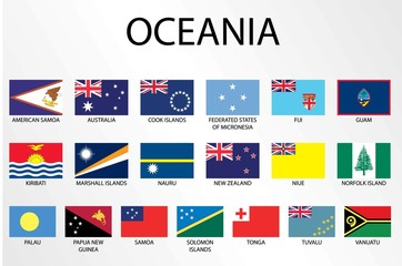 Alphabetical Country Flags for the Continent of Oceania