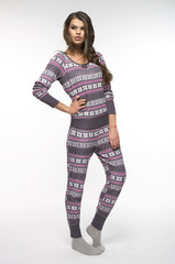 Woman in pajamas over white backround