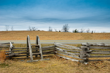 Stile over a fence along the Blue Ridge Parkway
