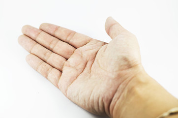 Hand outstretched to welcome in Isolated Background