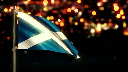 Scotland National Flag City Light Night Bokeh Loop Animation