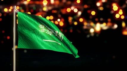 Saudi Arabia National Flag City Light Night Bokeh Loop Animation