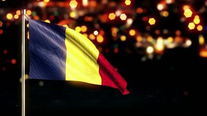 Romania National Flag City Light Night Bokeh Loop Animation