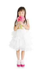 Asian girl holding flower
