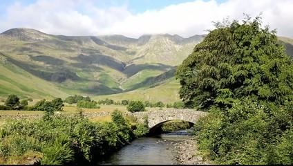 Mickleden Beck river Langdale Valley Lake District uk