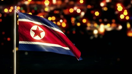 North Korea National Flag City Light Night Bokeh Loop Animation