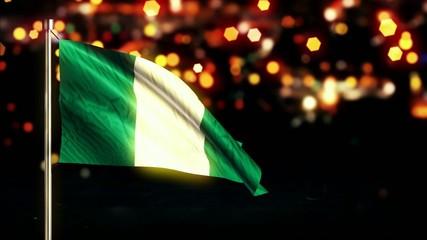 Nigeria National Flag City Light Night Bokeh Loop Animation