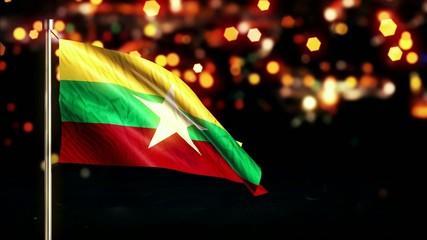 Myanmar National Flag City Light Night Bokeh Loop Animation