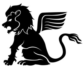 sitting graffiti lion