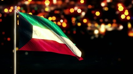Kuwait National Flag City Light Night Bokeh Loop Animation