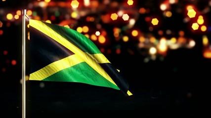 Jamaica National Flag City Light Night Bokeh Loop Animation