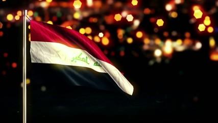 Iraq National Flag City Light Night Bokeh Loop Animation