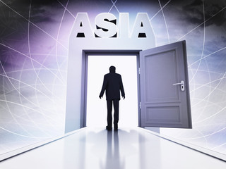 person going to visit Asia behind magic doorway background